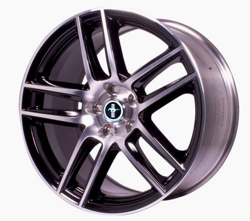 "MUSTANG BOSS 302S REAR WHEEL 19"" X 10"" - GLOSS BLACK WITH MACHINED FACE"