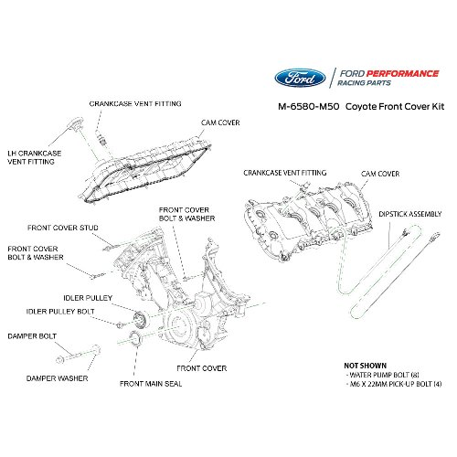 5.0l coyote timing/front cover and cam cover kit| part details for  m-6580-m50 | ford performance parts  ford performance parts